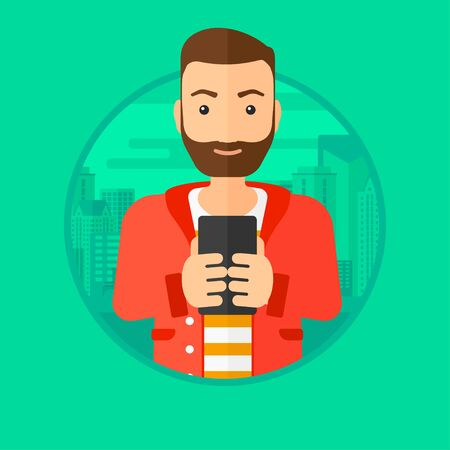 using smartphone: A hipster man with the beard using smartphone on a city background. Vector flat design illustration in the circle isolated on background.