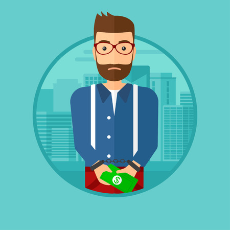 prisoner of the money: A hipster man with the beard in handcuffs with money in hands on the background of modern city. Vector flat design illustration in the circle isolated on background.