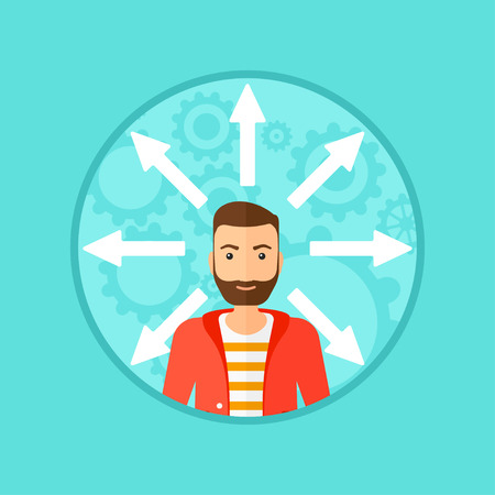 hesitate: A hipster man with many arrows around his head. Vector flat design illustration in the circle isolated on background.