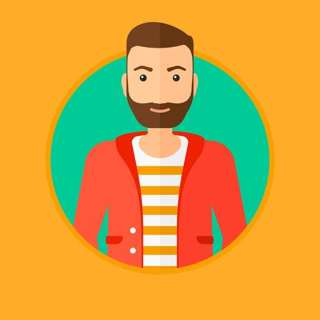 the applicant: A confident hipster businessman with the beard. Vector flat design illustration in the circle isolated on background.