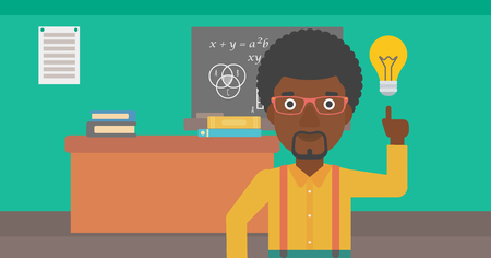 light classroom: An african-american man pointing a finger at the light bulb on the background of classroom vector flat design illustration. Horizontal layout. Illustration