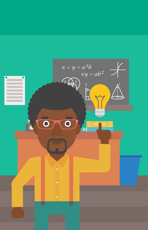 light classroom: An african-american man pointing a finger at the light bulb on the background of classroom vector flat design illustration. Vertical layout. Illustration