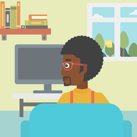 An african-american man sitting on the couch in living room and watching tv vector flat design illustration. Square layout.