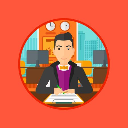 signing papers: Businessman signing a business contract in office. Man is about to sign a business contract. Confirmation of transaction by signing of business contract. Vector flat design illustration in the circle. Illustration