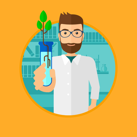 test tube: Scientist holding test tube with young plant. Scientist analyzing plant in test tube. Scientist holding test tube with sprout. Vector flat design illustration in the circle isolated on background. Illustration