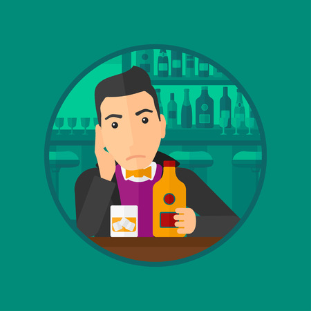 brandy: A sad young man with alcohol drinks sitting in bar. Man drinking alcohol alone. Man holding bottle of alcohol at the bar. Vector flat design illustration in the circle isolated on background.