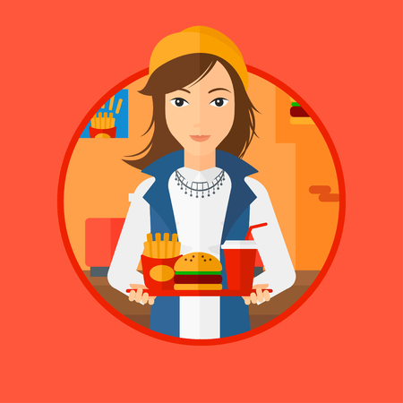 lunch tray: A woman holding tray full of junk food. Woman in fast food restaurant. Woman having lunch in a fast food restaurant. Vector flat design illustration in the circle isolated on background.