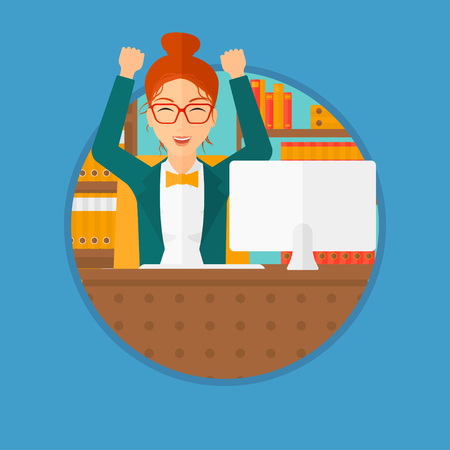 woman arms up: A successful business woman celebrating with arms up while sitting at the table in office. Successful business concept. Business vector flat design illustration in the circle isolated on background.