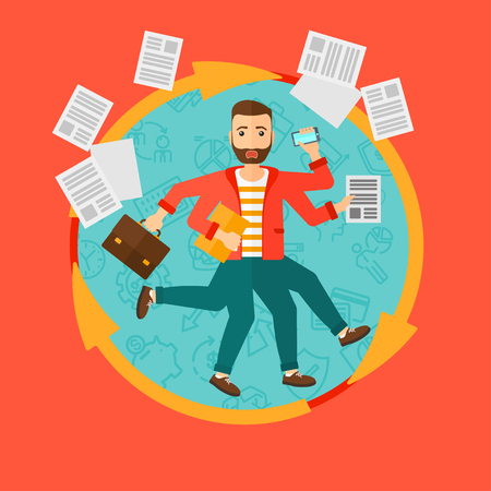 A businessman with many legs and hands holding papers, briefcase, smartphone. Multitasking and productivity concept. Business vector flat design illustration in the circle isolated on background.
