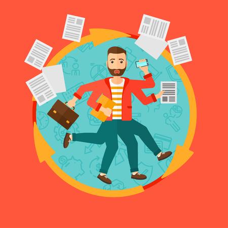 Un homme d'affaires avec beaucoup de jambes et mains tenant des papiers, porte-documents, smartphone. Multitâche notion et la productivité. vecteur affaires illustration design plat dans le cercle isolé sur fond.