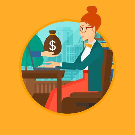 ebusiness: A woman sitting at the table in office and a bag of money coming out of her laptop. Online business concept. Business vector flat design illustration in the circle isolated on background. Illustration