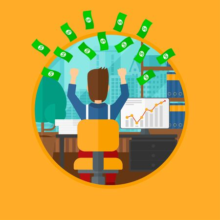 money rain: A successful businessman with raised hands sitting in front of computer monitor with growing chart under money rain. Business vector flat design illustration in the circle isolated on background. Illustration
