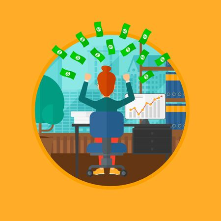 money rain: A successful business woman with raised hands sitting in front of computer monitor with growing chart under money rain. Business vector flat design illustration in the circle isolated on background. Illustration