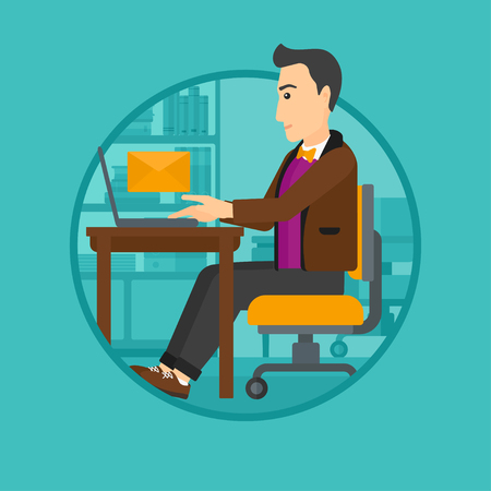 recieve: A businessman working on his laptop in office and receiving or sending email. Business technology, email concept. Business vector flat design illustration in the circle isolated on background. Illustration