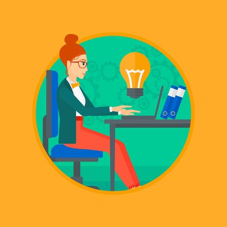 A business woman working on her laptop in office and a big idea bulb above the table. Successful business idea concept. Business vector flat design illustration in the circle isolated on background.