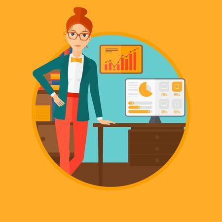 Una mujer de negocios apoyado en una mesa en la oficina durante la presentación de negocios. Mujer que da una presentación de negocios. Presentación del asunto en curso. Vector ilustración de diseño plano en el círculo.
