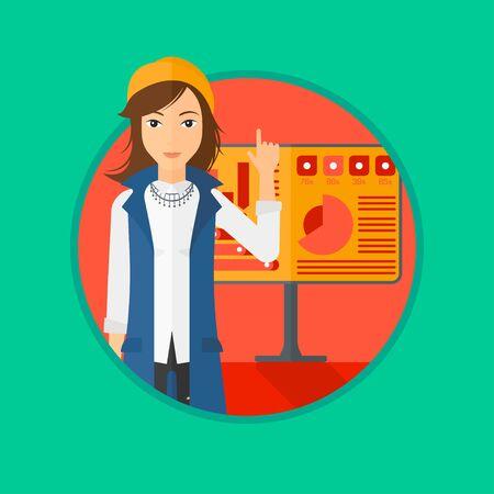 Una mujer de negocios que apunta a los gráficos en un tablero durante la presentación de negocios. Mujer que da una presentación de negocios. Presentación del asunto en curso. Vector ilustración de diseño plano en el círculo.