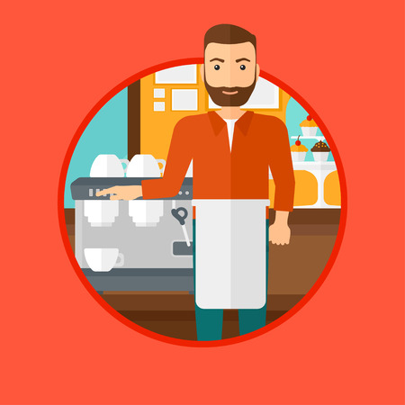 barista: A hipster barista with the beard sanding in front of coffee machine. Barista at coffee shop. Barista making a cup of coffee. Vector flat design illustration in the circle isolated on background.