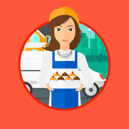 cupcakes isolated: A female baker holding a box of cakes. A baker delivering cakes. Baker with cupcakes standing on the background of delivery truck. Vector flat design illustration in the circle isolated on background.