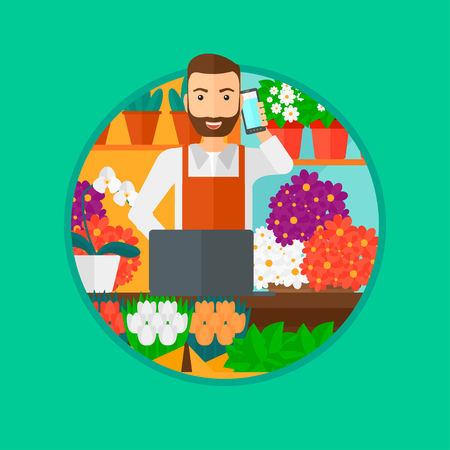 small business computer: A hipster florist with the beard using telephone and laptop to take orders. A florist standing behind the counter at flower shop. Vector flat design illustration in the circle isolated on background.