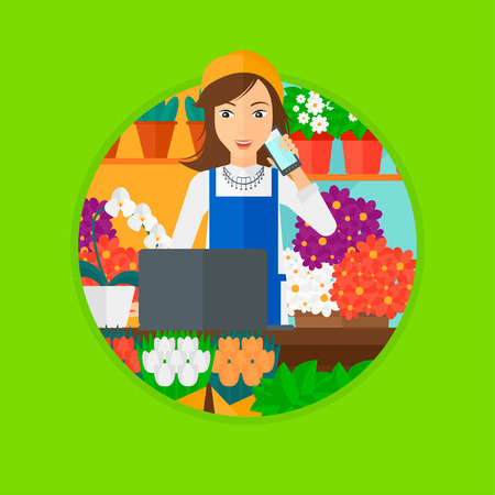 small business computer: A female florist using telephone and laptop to take orders for flower shop. A florist standing behind the counter at flower shop. Vector flat design illustration in the circle isolated on background.