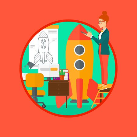 engeneering: A woman standing on ladder and engeneering a rocket. Woman working on the startup of a new business. Business start up concept. Vector flat design illustration in the circle isolated on background.