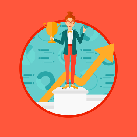 place of work: A business woman standing on a pedestal with winner cup. Business woman celebrating her business award. Business award concept. Vector flat design illustration in the circle isolated on background.