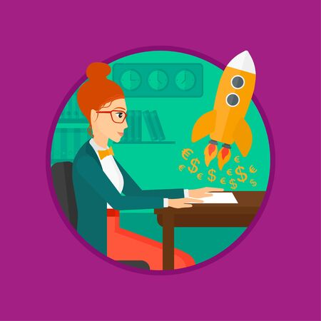A business woman sitting at the table and looking at a business start up rocket taking off. Business start up concept. Vector flat design illustration in the circle isolated on background.