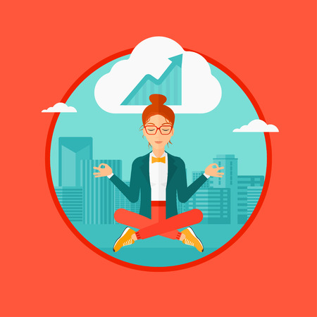 Peaceful business woman with eyes closed doing yoga and meditating in lotus pose outdoors and thinking about the growth graph. Vector flat design illustration in the circle isolated on background. Ilustração Vetorial