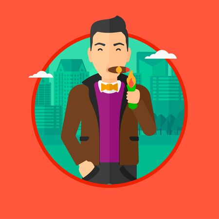 Rich businessman lighting a cigar with dollar bill. A successful businessman smoking a cigar on the background of modern city. Vector flat design illustration in the circle isolated on background. Ilustrace