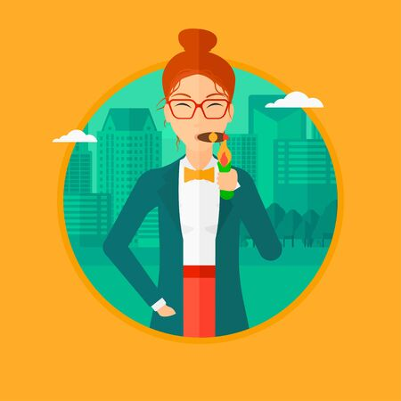 cigar smoking woman: Rich business woman lighting a cigar with dollar bill. A successful business woman smoking cigar on the background of modern city. Vector flat design illustration in the circle isolated on background.