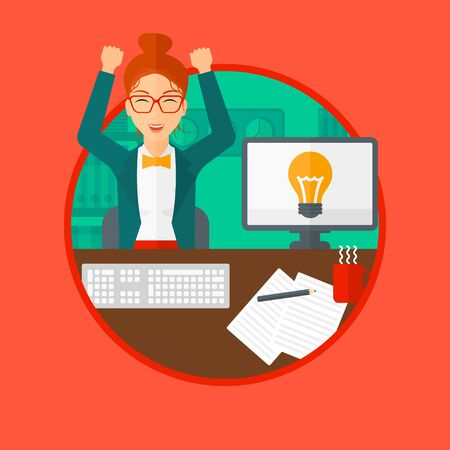 woman arms up: Woman with arms up having business idea. Woman working on a computer with a business idea bulb on a screen. Business idea concept. Vector flat design illustration in the circle isolated on background.