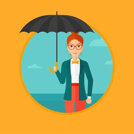 businesswoman standing: A businesswoman standing with open umbrella on the background of blue sky. A woman under open umbrella. Happy woman with umbrella. Vector flat design illustration in the circle isolated on background.