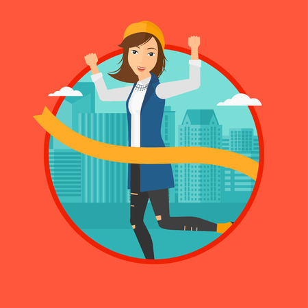 A successful business woman running at the finish line. Business woman crossing finish line. Concept of business success. Vector flat design illustration in the circle isolated on background.