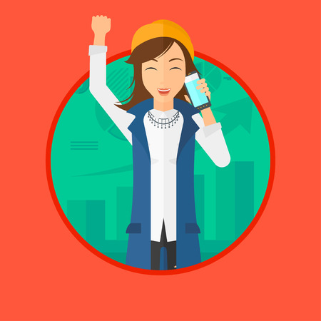 Excited business woman raising her arm while getting good news on mobile phone near the growth chart. Business success concept. Vector flat design illustration in the circle isolated on background.