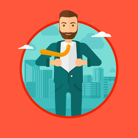 undress: A hipster businessman with the beard opening hisr jacket like superhero on the background of modern city. Businessman superhero. Vector flat design illustration in the circle isolated on background.