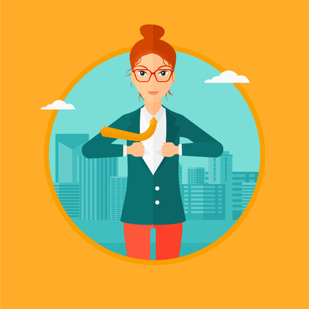 tearing: A business woman opening her jacket like superhero on the background of modern city. Business woman superhero. Vector flat design illustration in the circle isolated on background. Illustration