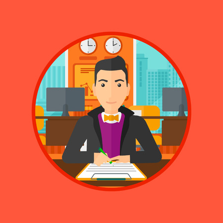signing: Businessman signing business documents in office. Man is about to sign a business agrement. Confirmation of transaction by signing of business contract. Vector flat design illustration in the circle. Illustration