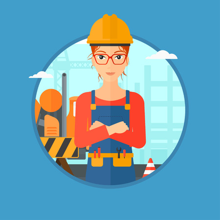 building site: Builder with arms crossed. Confident builder on a background of construction site. Builder in helmet on background of road works. Vector flat design illustration in the circle isolated on background.
