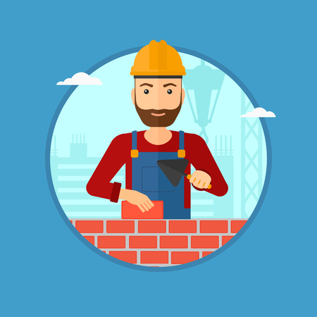 bricklayer: A hipster bricklayer in uniform and hard hat. Bricklayer working with a spatula and a brick in hands on construction site. Vector flat design illustration in the circle isolated on background. Illustration