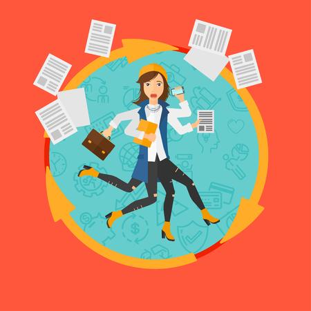 Una mujer de negocios con muchas piernas y las manos que sostienen los papeles, cartera, teléfono inteligente. Multitarea y la productividad concepto. ilustración vectorial de negocio diseño plano en el círculo aislado en el fondo.