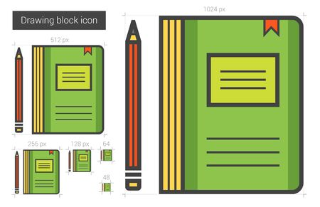Notebook vector line icon isolated on white background. Outlined by pixel notebook icon with size options. Ready to export notebook icon for infographic, website or app. Layered and organized.