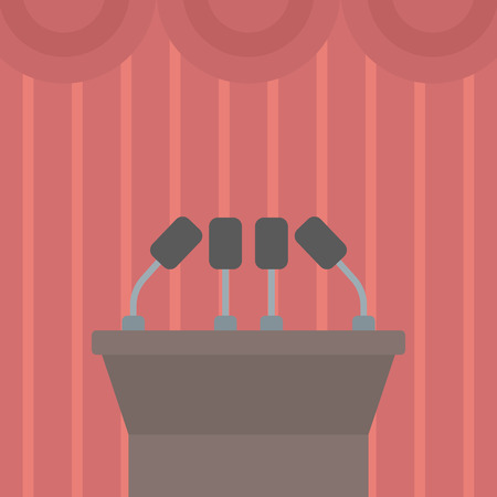 Background of tribune speech with microphones vector flat design illustration. Square layout. Illustration