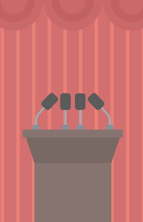 hustings: Background of tribune speech with microphones vector flat design illustration. Vertical layout.