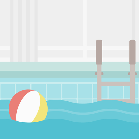 inflatable ball: Background of swimming pool with inflatable ball vector flat design illustration. Square layout.
