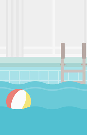 inflatable ball: Background of swimming pool with inflatable ball vector flat design illustration. Vertical layout.