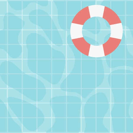 Background of water surface with floating lifebuoy vector flat design illustration. Square layout.