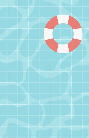 floating in water: Background of water surface with floating lifebuoy vector flat design illustration. Vertical layout.