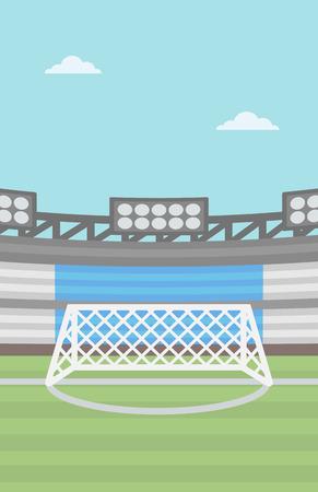 soccer field: Background of football stadium vector flat design illustration. Vertical layout.