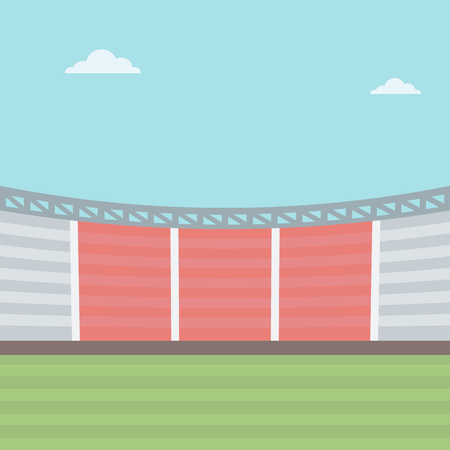 Background of football stadium vector flat design illustration. Square layout.